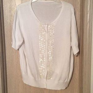 Sweaters - Beaded short sleeved cardigan